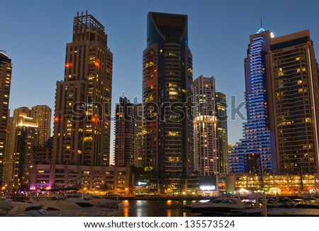 DUBAI, UAE - NOVEMBER 16: Dubai Marina at night, on November 16, 2012, Dubai, UAE.  Dubai was the fastest developing city in the world between 2002 and 2008.