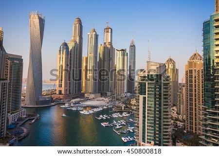 DUBAI, UAE - NOVEMBER 2: Dubai Marina. UAE. November 2, 2013. Dubai was the fastest developing city in the world between 2002 and 2008. - stock photo