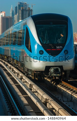DUBAI, UAE - NOVEMBER 18: Dubai Metro. A view of the city from the subway car nov 18. 2012.  Dubai Metro as world's longest fully automated metro network (75 km) on November 18, 2012, Dubai, UAE.