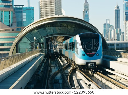 DUBAI, UAE - NOVEMBER 18: Dubai Metro as world's longest fully automated metro network (75 km) on November 18, 2012, Dubai, UAE. - stock photo