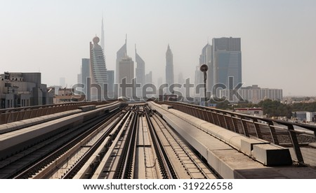 DUBAI, UAE - NOVEMBER 2: Dubai Metro as world's longest fully automated metro network (75 km) on November 2, 2013, Dubai, UAE. - stock photo
