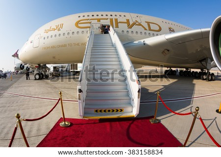 Dubai, UAE - NOVEMBER 09, 2015: Etihad Airways Airbus A380 aircraft. Largest passenger aircraft. Airbus A380. Biggest passenger airplane on November 09, 2015 in Dubai - stock photo