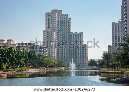 DUBAI, UAE - NOVEMBER 12: General view of the Dubai Marina district Greens, on November 12, 2012, Dubai, UAE. Dubai was the fastest developing city in the world between 2002 and 2008.