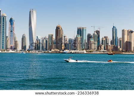 DUBAI, UAE - NOVEMBER 7: General view of the Dubai Marina, on November 7, 2013, Dubai, UAE. In the city of artificial channel length of 3 kilometers along the Persian Gulf. - stock photo