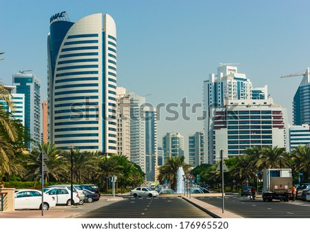 DUBAI, UAE - NOVEMBER 12: High rise buildings and streets nov 12. 2012 in Dubai, UAE