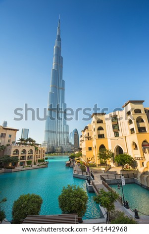 DUBAI, UAE - NOVEMBER 13: High rise buildings and streets nov 13. 2013  in Dubai, UAE.  Burj Khalifa, the tallest building in the world