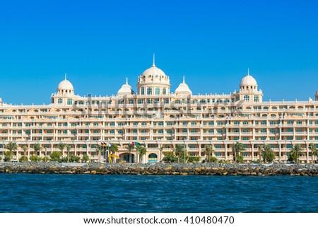 DUBAI, UAE - NOVEMBER 13: Kempinski Hotel & Residences Palm Jumeirah in a summer day in Dubai on 13 November 2015 - stock photo