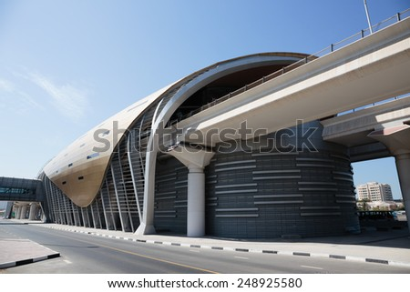DUBAI, UAE - NOVEMBER 11: Metro subway station. Dubai Metro as world's longest fully automated metro network (75 km) on November 11, 2013, Dubai, UAE.