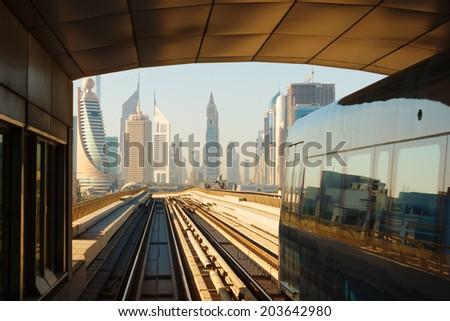 DUBAI, UAE-NOVEMBER 14, 2012: Metro subway tracks in the united arab emirates - stock photo
