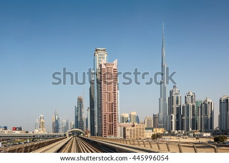 DUBAI, UAE - NOVEMBER 3, 2013: Metro subway tracks in the United Arab Emirates