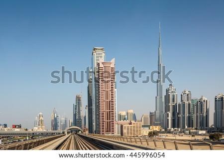 DUBAI, UAE - NOVEMBER 3, 2013: Metro subway tracks in the United Arab Emirates - stock photo