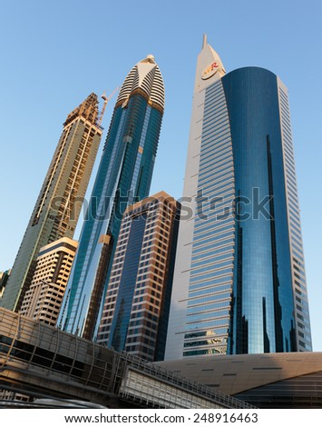 DUBAI, UAE - NOVEMBER 9, 2013: Modern buildings. Dubai was the fastest developing city in the world between 2002 and 2008.