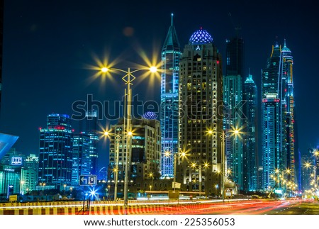 DUBAI, UAE - NOVEMBER 13: Modern buildings in Dubai Marina, Dubai, UAE. In the city of artificial channel length of 3 kilometers along the Persian Gulf, taken on 13 November 2013  in Dubai.