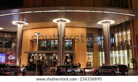 DUBAI, UAE - NOVEMBER 9, 2013: Modern luxuty mall. At over 12 million sq ft, it is the world's largest shopping mall based on total area.
