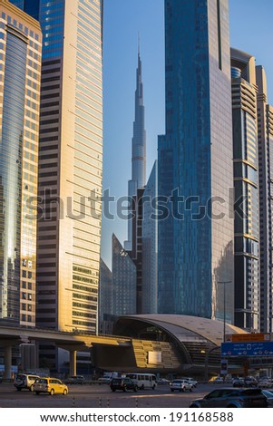 DUBAI, UAE - NOVEMBER 9: Modern skyscrapers, Sheikh zayed roads on November 9, 2013 in Dubai, United Arab Emirates. Dubai is the fastest growing city in the world.