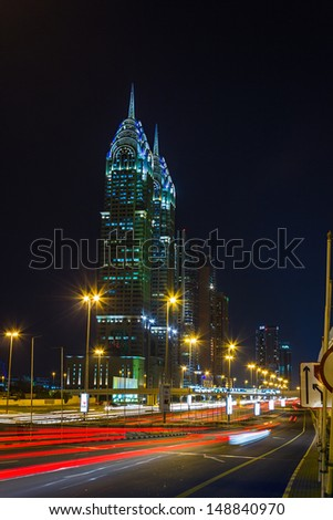 DUBAI, UAE - NOVEMBER 18: Nightlife in Dubai. UAE. November 18, 2012. Dubai was the fastest developing city in the world between 2002 and 2008. - stock photo