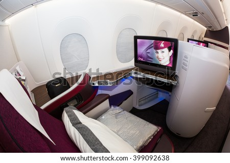 Dubai, UAE - NOVEMBER 08, 2015: Qatar Airways Airbus A350 business class suit. Qatar Airways business class seats on November 08, 2015 in Dubai - stock photo