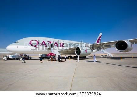 Dubai, UAE - NOVEMBER 10, 2015: Qatar Airways Airbus A380. Largest passenger aircraft on November 10, 2015 in Dubai - stock photo