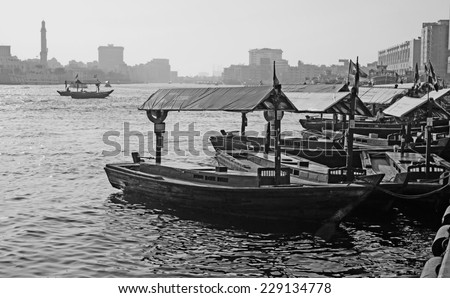DUBAI, UAE-NOVEMBER 13: Ship in Port Said on November 13, 2012 in Dubai, UAE. The oldest commercial port of Dubai - stock photo