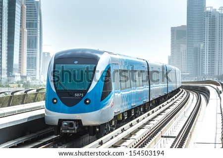 DUBAI, UAE - NOVEMBER 14 - The construction cost of the Dubai Metro project has shot up by about 80 per cent from the original US$ 4.2 billion to US$ 7.6 billion. Picture taken on November 14, 2012. - stock photo