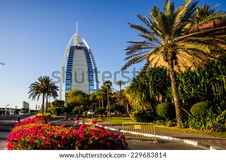 DUBAI, UAE - NOVEMBER 10 :The world's first seven stars luxury hotel Burj Al Arab, November 10, 2014 in Dubai, United Arab Emirates - stock photo