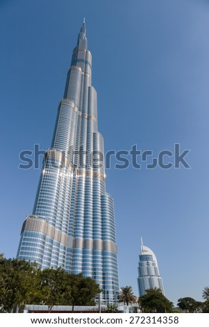 DUBAI, UAE-NOVEMBER 13, 2013: View of Burj Khalifa - the world's tallest tower at Downtown Burj Dubai in Dubai, UAE - stock photo