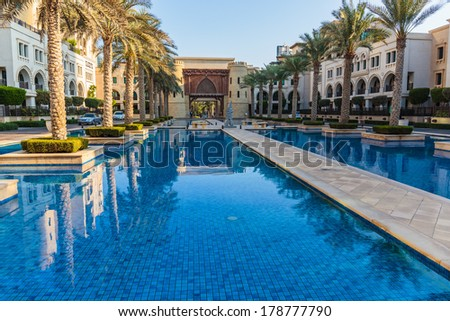 DUBAI, UAE-NOVEMBER 13: View of Palace Hotel on November 13, 2013 in Dubai, UAE. It is located on the Old Town Island in Burj Khalifa complex.