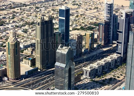 DUBAI, UAE - OCTOBER 17: Aerial view of Downtown Dubai from the tallest building in the world, Burj Khalifa, at 828m, taken on 17 October 2014 in Dubai.