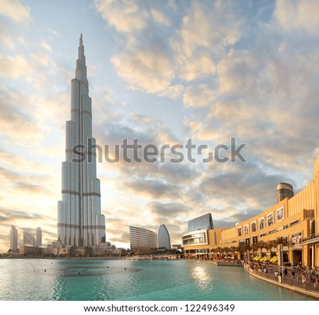 DUBAI, UAE - OCTOBER 23: Burj khalifa, the highest building in the world, Downtown on October 23, 2012 in Dubai, UAE