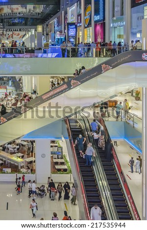 DUBAI, UAE - OCTOBER 1, 2012: Interior of Dubai Mall - world's largest shopping mall based on total area and sixth largest by gross leasable area. United Arab Emirates.