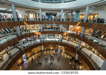 Dubai,UAE on 25th Nov 2016: The Dubai Mall is a shopping mall in Dubai and the largest mall in the world by total area. In 2011 it was the most visited building on the planet