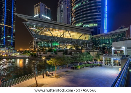 Dubai,UAE on 26th Nov 2016: The Jumeirah Lakes Towers, JLT is a large development in Dubai, UAE which consists of 80 towers being constructed along the edges of three artificial lakes