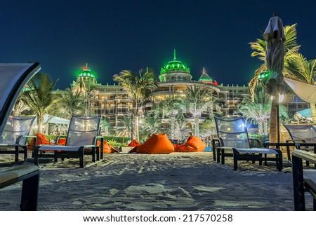 DUBAI, UAE - SEPTEMBER 29, 2012: Beautiful area of Kempinski Hotel and Residences (129 luxury suites, penthouses and villas) on man-made island of Palm Jumeirah. United Arab Emirates. - stock photo