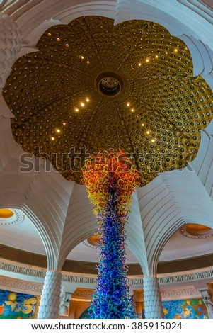 DUBAI, UAE - SEPTEMBER 7, 2015: Interior a wonderful lounge in 5 stars Hotel Atlantis (1,539 spacious guest rooms including 166 suites) on man-made island of Palm Jumeirah. United Arab Emirates.  - stock photo