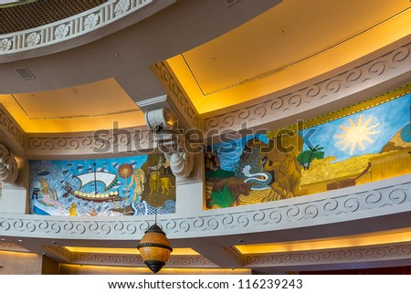 DUBAI, UAE - SEPTEMBER 30: Interior of 5 star Hotel Atlantis (1,539 spacious guest rooms including 166 suites) on man-made island of Palm Jumeirah at September 30, 2012 in Dubai, United Arab Emirates.
