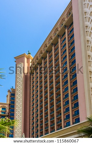 DUBAI, UAE - SEPTEMBER 30: 5-star Hotel Atlantis (1,539 spacious guest rooms including 166 suites) on man-made island of Palm Jumeirah at September 30, 2012 in Dubai, United Arab Emirates. Building.