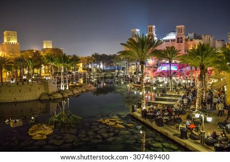 Dubai UAE 27/2/2014: Souk Madinat Jumeirah at night - stock photo