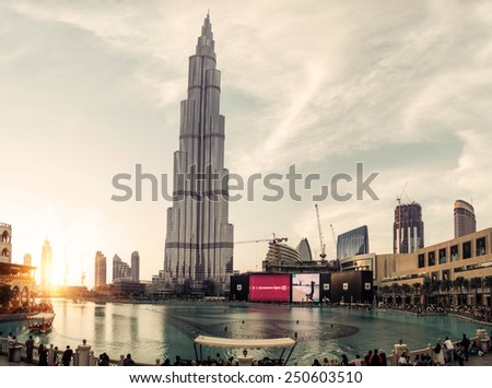 Dubai, UED. February 3, 2015.The burj Khalifa,known as Burj Dubai , is a skyscraper in Dubai, United Arab Emirates. It is the tallest artificial structure in the world, standing at 829.8 m  - stock photo