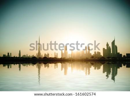 Dubai, United Arab Emirates. Beautiful beach and sea - stock photo