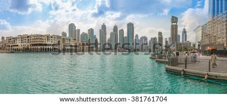 Dubai, United Arab Emirates - Dec 2, 2014: Panorama view of the Commercial Center Souk Al Bahar, near the highest building in the world, burj Khalifa - stock photo