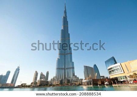 DUBAI, UNITED ARAB EMIRATES - 27 DECEMBER, 2013: Burj Khalifa tower. This skyscraper is the tallest man-made structure in the world, measuring 828 m. Completed in 2009. December 27, 2013 Dubai, UAE - stock photo