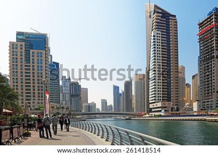 DUBAI, UNITED ARAB EMIRATES, - FEB 05, 2014: Cityscape, view on Dubai Marina Canal - stock photo