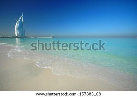 DUBAI, UNITED ARAB EMIRATES - FEBRUARY 19 2008 : Burj Al Arab, One of the most famous landmark of  United Arab Emirates. Picture taken on February 19, 2008. - stock photo