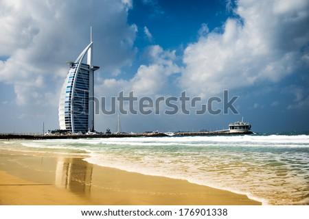 DUBAI, UNITED ARAB EMIRATES - FEBRUARY 10 2014 : Burj Al Arab, One of the most famous landmark of United Arab Emirates. Picture taken on February 10, 2014 - stock photo