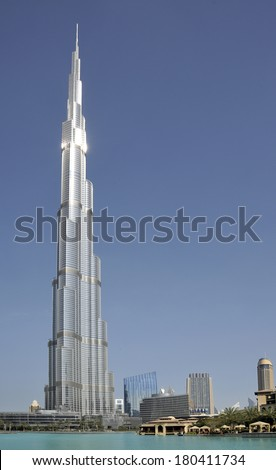 DUBAI, UNITED ARAB EMIRATES - 7 FEBRUARY, 2014: The Burj Khalifa. This skyscraper is the tallest man-made structure ever built, at 828 m.  Completed in 2009. February 7, 2014 Dubai - stock photo