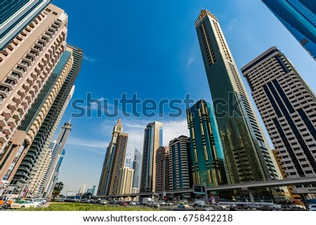 Dubai, United Arab Emirates - February 8, 2017 - View of the skyscrapers along Sheikh Zayed Road - Dubai International Financial Centre