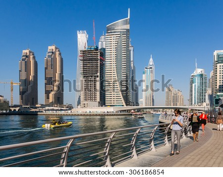 DUBAI, UNITED ARAB EMIRATES - JAN 25,2014: Highrise buildings in the Marina district of Dubai, United Arab Emirates - stock photo