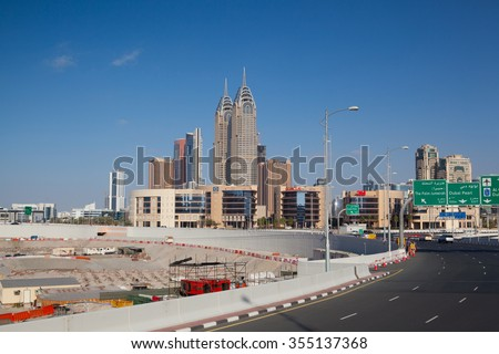 Dubai,United Arab Emirates - January 3,2012: Construction activity in Dubai downtown. - stock photo
