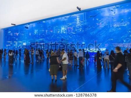 DUBAI, UNITED ARAB EMIRATES - JANUARY 8: The Acquarium of Dubai Mall. Many people watching the famous Aquarium in January 8, 2013 during sales period. - stock photo
