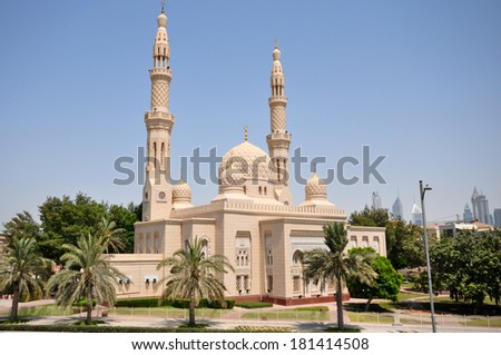 DUBAI, UNITED ARAB EMIRATES - 27 JUNE, 2012: Jumeirah Mosque. It is the only mosque in Dubai open to public. - stock photo